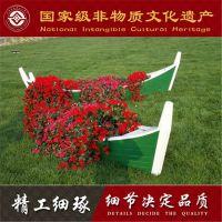 公园景区草坪装饰木船 批发制作盆栽摄影道具船 服务类船