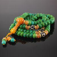 厂价手饰批发 优化绿松石108颗佛珠手链 藏式蜜蜡佛珠批发