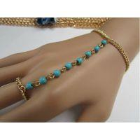欧美范流行饰品批发绿松石珍珠手背链戒指手背连一体 时尚清新