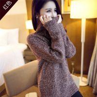 高领加厚打底衫2014冬季新款韩版宽松套头大码女装中长款毛衣外套