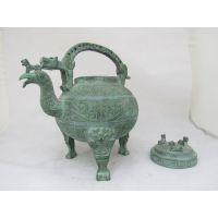 青铜凤纹鸟提梁卣 古代酒器壶 现代复古工艺品 家居摆设 古玩收藏