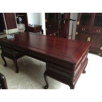 怡棠苑老挝红酸枝洋花脚书桌