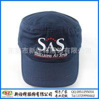 平顶帽定制 新款韩版简约街头百搭鸭舌短檐帽 字母绣花军人帽