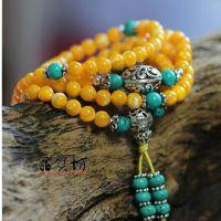 天然黄金丝砗磲108颗佛珠手链 配天然绿松石