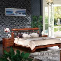 批发bed全实木床 卧室家具 厚重榆木家具牛皮真皮 床实木床双人
