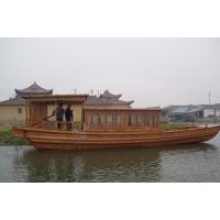 精品纯手工船 木船 单蓬船 仿古木船 玻璃钢木船 休闲旅游