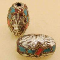 尼泊尔手工 藏银仿古桶珠 12*18m仿红珊瑚绿松石藏式铜珠 配件