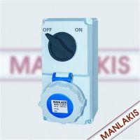 厂家直销 机械联锁MXS-J136-6 IP67 正品工业插座 带开关保护 3、4、5芯 防尘防水