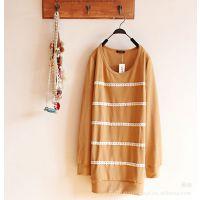 2014年春季新款长款T恤衫圆领打底衫糖果色黄色花边日系14022173