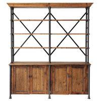 LOFT工业风家具美式书架复古铁艺置物架实木隔断架展示架书柜斗柜