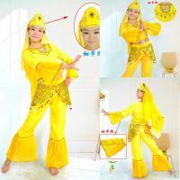 黄色长袖印度服装民族服装舞蹈服装演出服装表演服少数民族服装