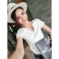 小银子2015夏装新款简约百搭V领双层棉质短袖T恤女T4414