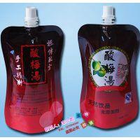 厂家定制 350ml1L椰子 杨梅 酸梅汤苹果汁果酱站立软包装袋 异形自立吸嘴袋