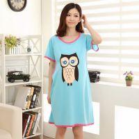睡衣批发孕妇月子服卡通猫头鹰针织棉喂奶衣短袖睡裙一件代发Z286