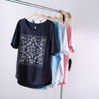 夏季新款短袖T恤宽松大码显瘦圆领印花亚麻打底衫韩版气质体恤女