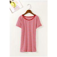 日韩外贸原单批发尾货出口成衣 女装夏圆领条纹短袖T恤打底衫G114