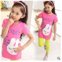 女童装夏2015新款上衣中大童卡通兔长款体恤休闲韩版儿童短袖T恤
