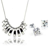 欧美大牌饰品速卖通爆款项链流苏方块耳环项链套装1252-125