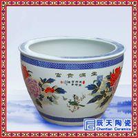 手绘粉彩平安图百花陶瓷大缸 中缸家饰种花养鱼定制