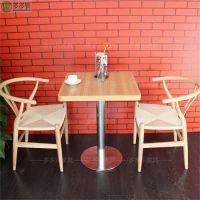 新款 西餐厅咖啡厅桌椅 实木茶几 中式复古美式休闲餐厅沙发围椅批发 多多乐家具