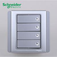 施耐德电气|开关插座|E3000都会系列银灰色|带绿荧光指示四位双控