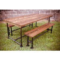 防锈餐厅桌椅家用餐桌定做美式餐桌 实木铁艺桌子复古餐桌椅组合