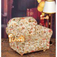 1:12娃娃屋DOLLHOUSE迷你家具 复古花色单人小沙发