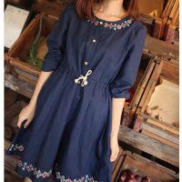 日式森林系秋装 民族风几何十字绣 小清新系带收腰长袖宽松连衣裙