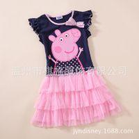 亏本处理 外贸女童裙  佩佩猪 Peppa Pig 夏款 短袖连衣裙 GB01