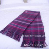 山东毛毯厂家生产出口各种颜色羊毛流苏休闲毯子