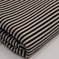 金丝色织汗布面料批发 黑白条纹纬编涤纶针织面料服装用布 现货