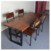 铁艺实木餐桌椅组合 定做美式复古家具 铁艺实木电脑桌办公桌椅