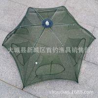 渔具批发 全自动六角六孔折叠笼 捕鱼笼  虾笼 地笼 大小号 伞网