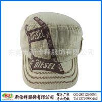 帽厂春夏季定制帽子 欧美时尚户外遮阳军人帽 印花字母条纹平顶帽