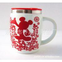 迪士尼陶瓷杯  米奇陶瓷杯  不锈钢陶瓷杯