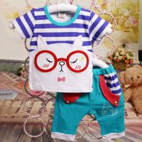 2015晨晓7070童装夏装新款纯棉眼镜t恤套装婴幼儿全棉短袖装爆款