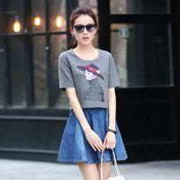 夏季新款日式时尚针织衫短袖T恤假两件 气质修身牛仔连衣裙 女