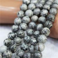 纯天然半宝石地图石散珠 4-12MM圆珠半成品DIY串珠水晶饰品材料包