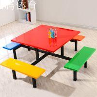 玻璃钢餐桌椅 饭堂食堂餐桌 八人连体方台桌椅 饭店餐厅桌椅 厂家订做康腾体育