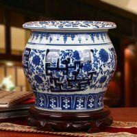 厂家批发景德镇陶瓷器 手绘仿古青花瓷缠枝莲喜字储物罐