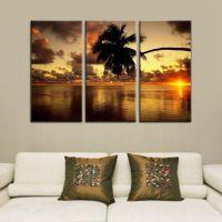 《夏威夷海景》纯手绘油画 客厅风景装饰画三联 卧室餐厅无框挂画
