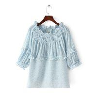 ZA-TT 时尚女装新款  甜美系列荷叶边一字领七分袖小碎花雪纺衫