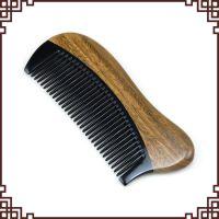 批发供应代理加盟 天然正宗绿檀木黑水牛角头梳 刻字礼品美发梳子