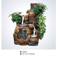 A001小型流水假山盆景室内家居摆饰树脂工艺品流水摆件