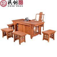 实木仿古茶台红木茶几花梨茶艺桌将军台电磁炉功夫茶桌椅组合批发