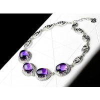 紫水晶爆款手链925银镶嵌裸石规格9x11   港诚水晶