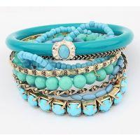 速卖通热卖 年新款波西米亚海洋清爽蓝色珠珠多层手镯 手链