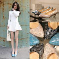 2015新款幻彩羊皮职业圆头女鞋真皮浅口中跟粗跟四季工作单鞋女