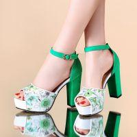 外贸女士凉鞋2015夏季韩版真皮鞋欧美高跟鞋防水台鱼嘴鞋手工鞋子