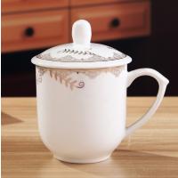 定做陶瓷杯厂家 办公会议杯价格 带盖陶瓷杯批发